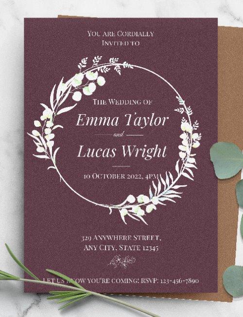 printable burgundy rustic wedding invitation template