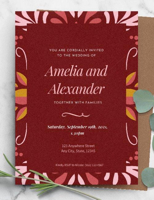 printable burgundy wedding invitation template