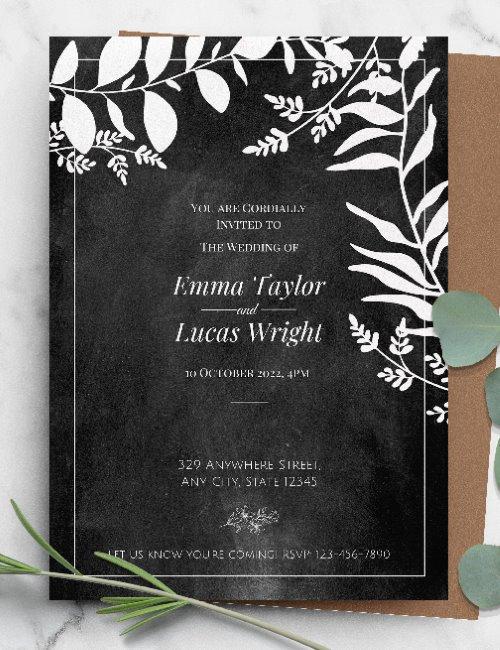 printable- chalkboard floral botanical wedding invitation template