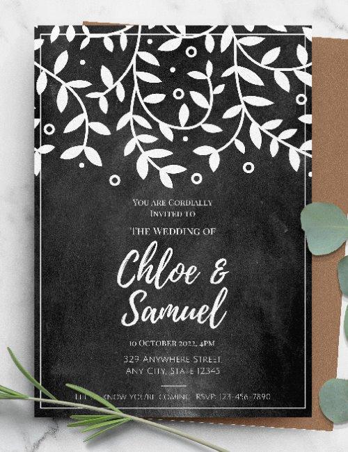 printable chalkboard rustic wedding  invitation template