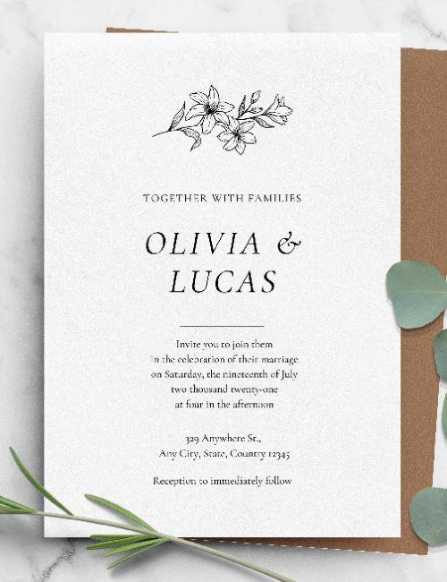 printable classic simple formal wedding invitation template