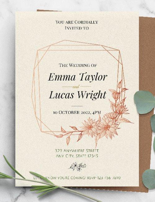 printable elegant floral boho wedding invitation template