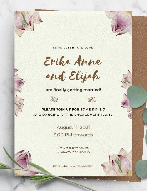 printable elegant floral wedding invitation template