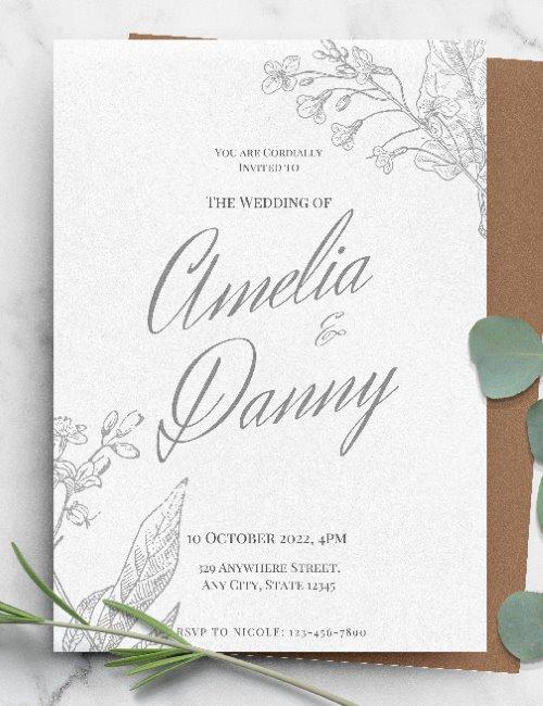 printable elegant wedding invitation template