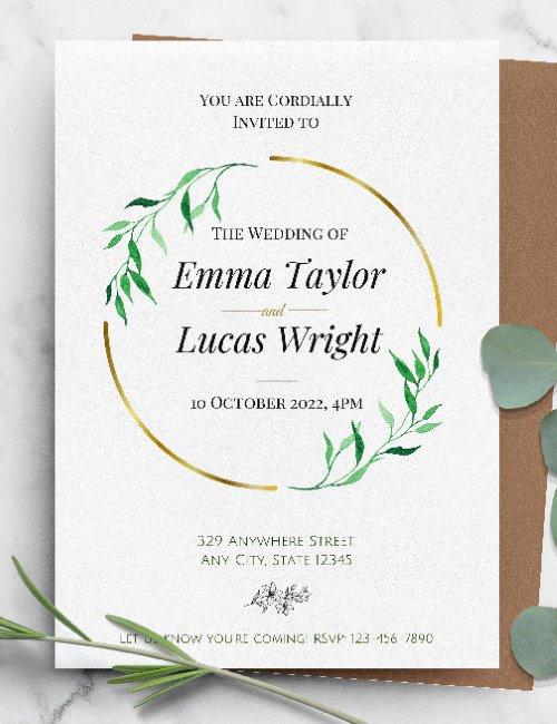 printable elegant wreath wedding invitation template