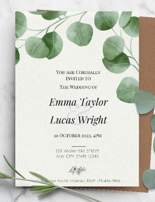printable eucalyptus wedding invitation template