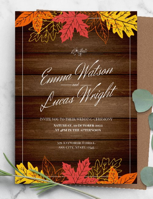 printable fall rustic wedding invitation template