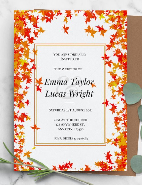printable fall wedding invitation template