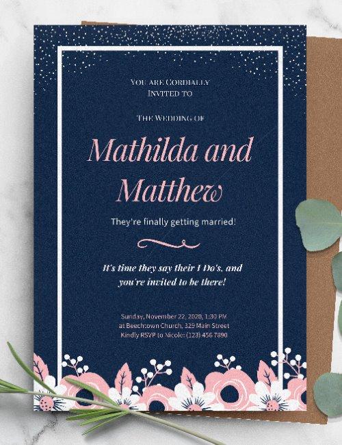 printable floral blue pink wedding invitation template