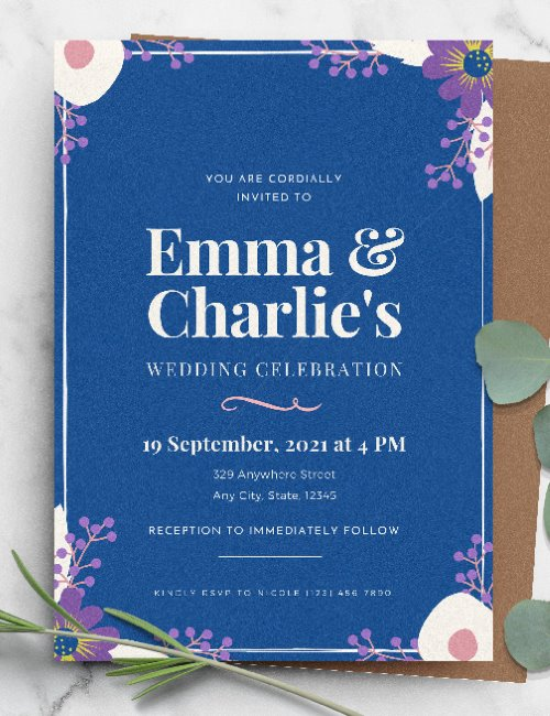 printable floral blue wedding invitation template
