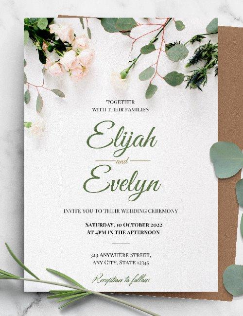 printable floral botanical wedding invitation template