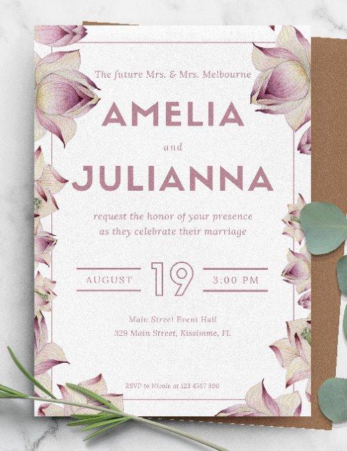 printable floral framed elegant wedding invitation template
