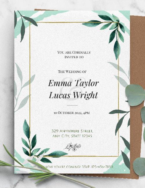 printable floral framed wedding invitation template