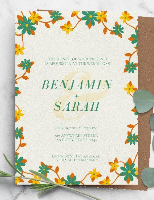 printable floral green wedding invitation template