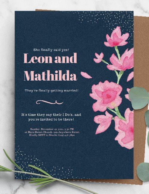printable floral pink wedding invitation template