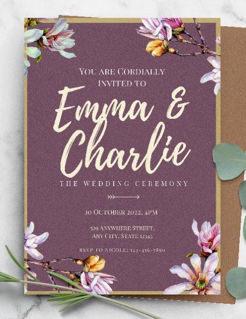 printable floral purple wedding invitation template