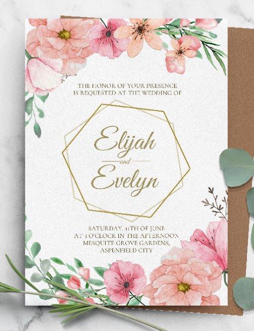 printable floral wreath wedding invitation template