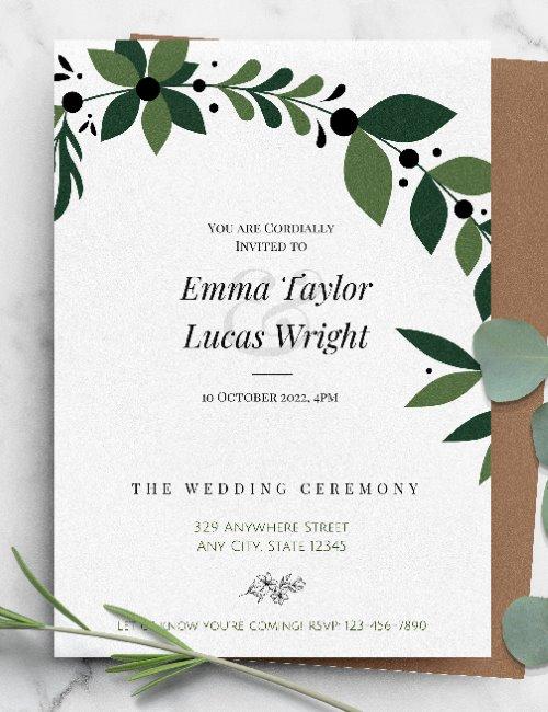printable formal botanical wedding invitation template