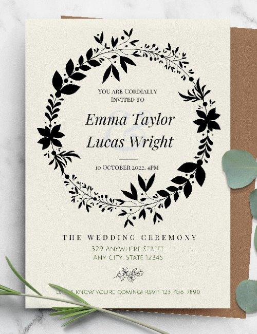 printable formal wreath wedding invitation template