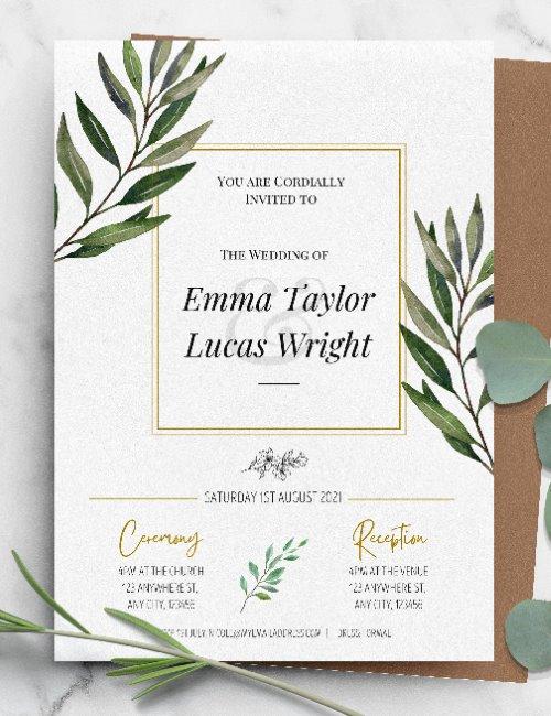 printable framed botanical elegant wedding invitation template