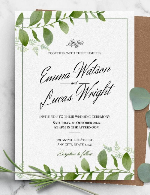 printable framed botanica wedding invitation template