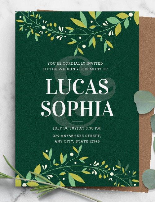 printable green botanical elegant wedding invitation template