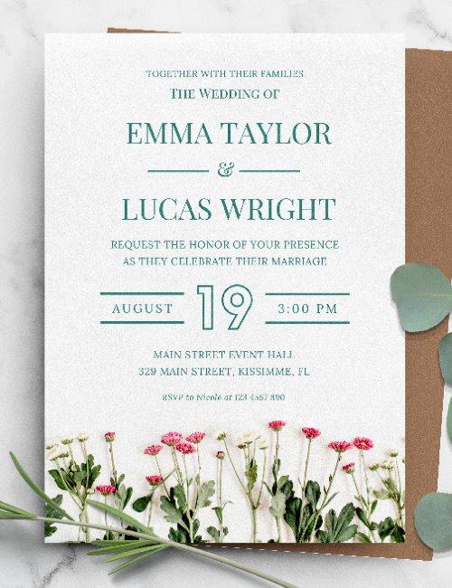 printable green floral wedding invitation template