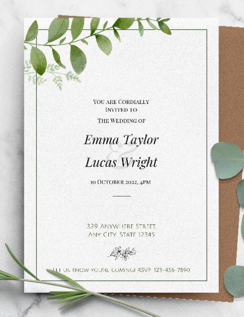 printable green framed wedding invitation template
