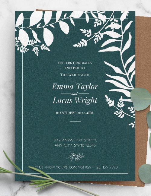 printable green rustic wedding invitation template