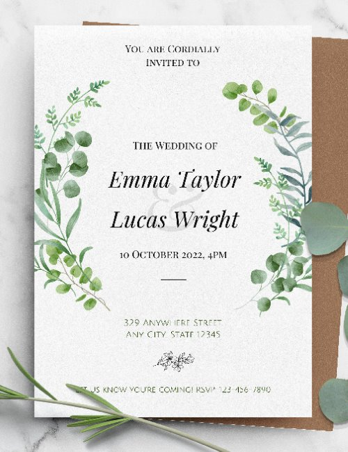 printable green wedding invitation template