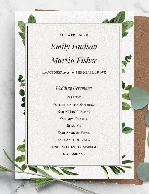 printable greenery formal wedding invitation template