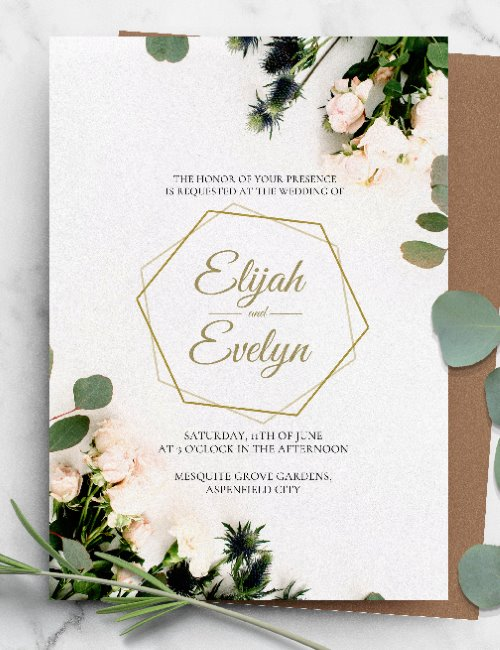 printable greenery geometric wedding invitation template