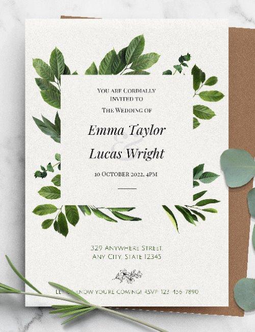 printable greenery wedding invitation template