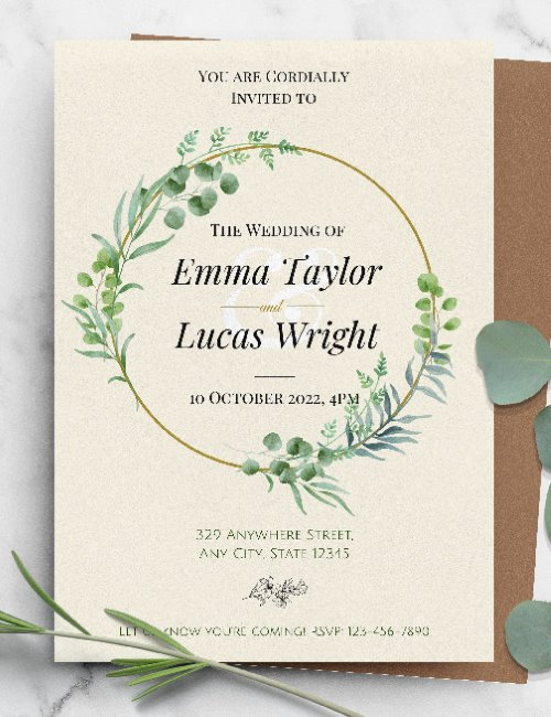 printable greenery wreath gold frame wedding invitation template