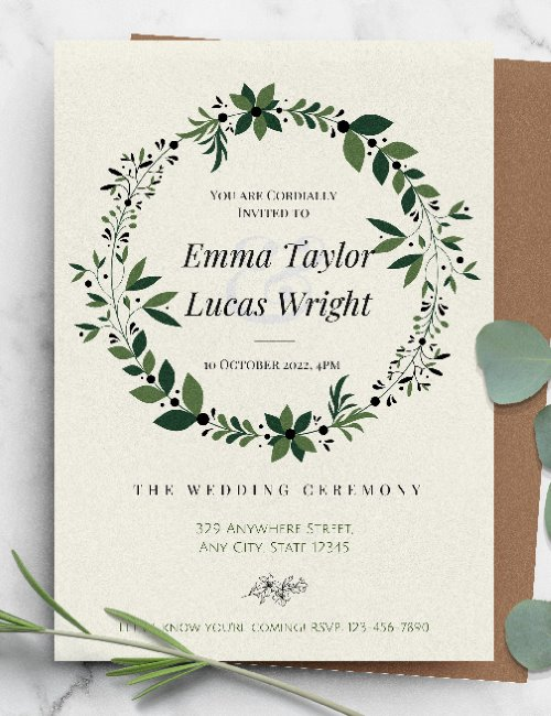 printable greenery wreath wedding invitation template