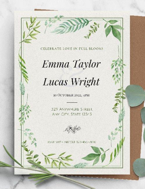 printable lush greenery elegant wedding invitation template