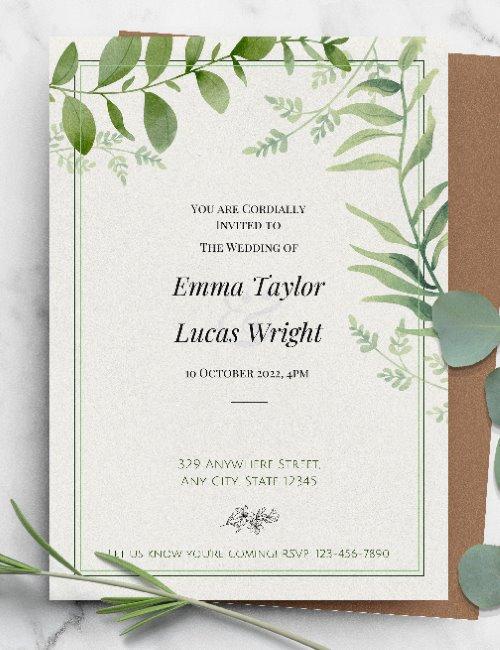 printable lush greenery wedding invitation template
