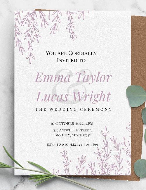 printable pink floral elegant wedding invitation template