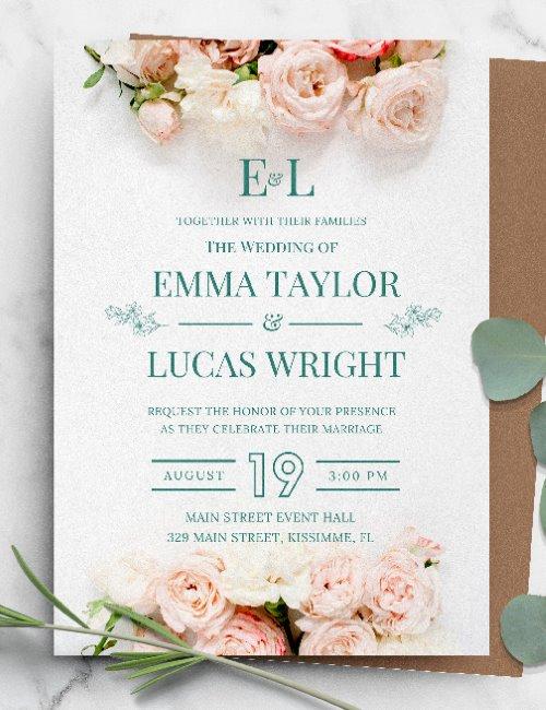 printable pink floral wedding invitation template