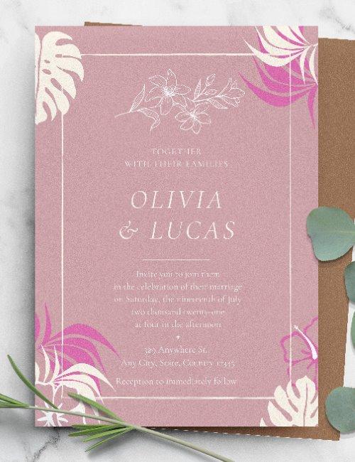 printable pink wedding invitation template