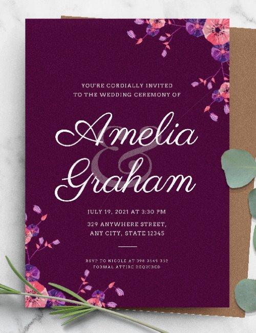 printable purple floral elegant wedding invitation template