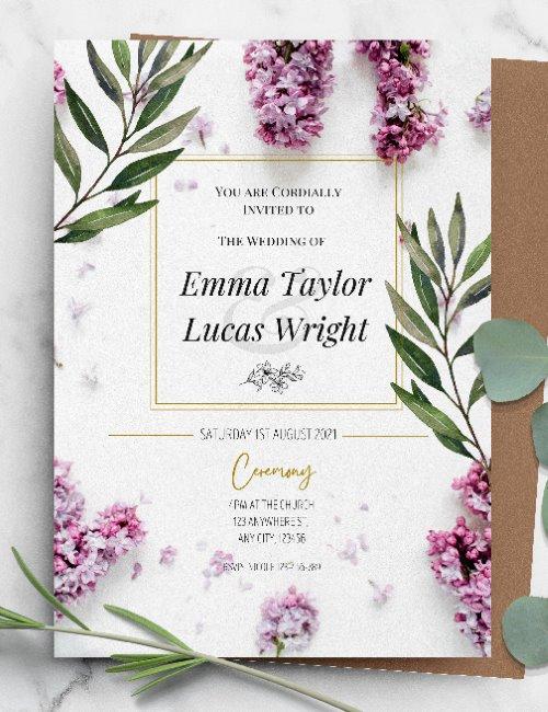 printable purple floral wedding invitation template