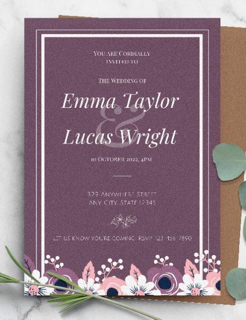 printable purple framed wedding invitation template