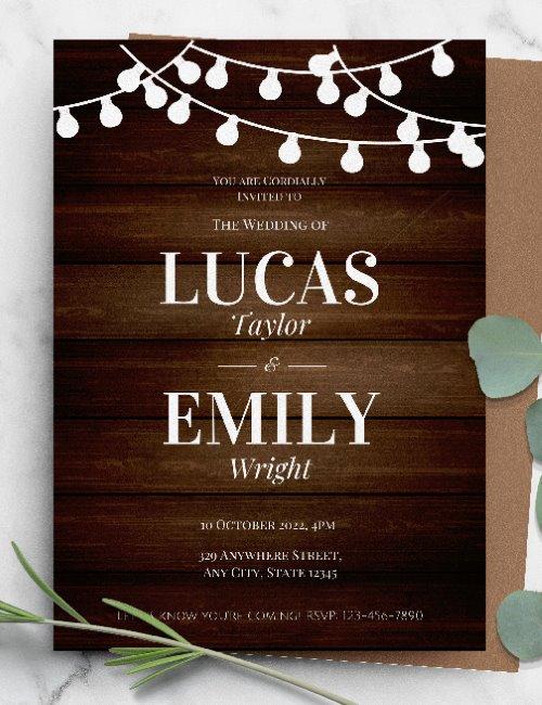 printable rustic barn style wedding invitation template