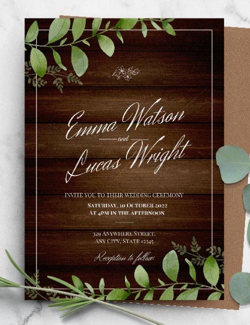 printable rustic botanical greenery wedding invitation template