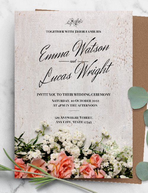 printable rustic floral wedding invitation template