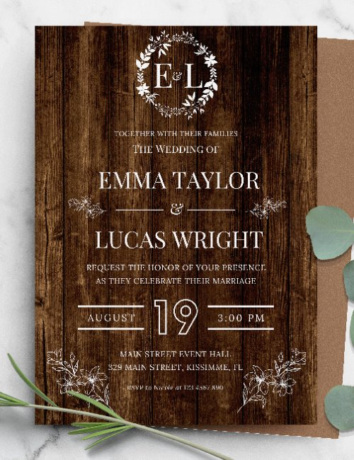 printable rustic floral white wedding invitation template