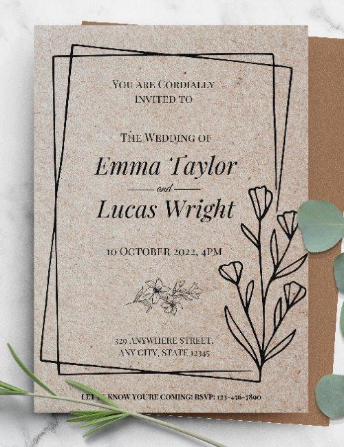 printable rustic paper wedding invitation template