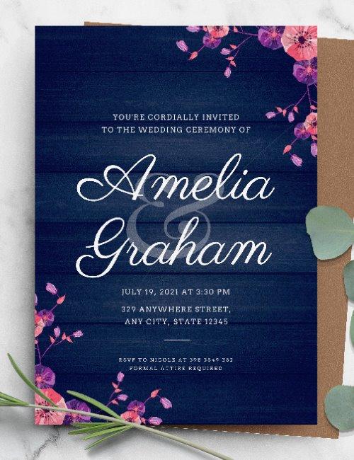printable rustic pink floral wedding invitation template