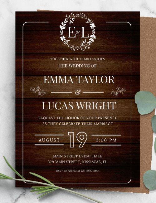 printable rustic wedding invitation template